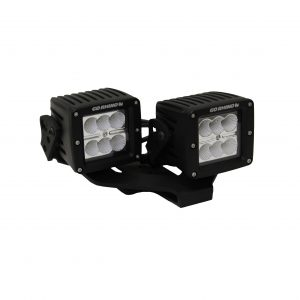 Go Rhino - 732231T - Jeep Wrangler JL & JLU Center Hood Mount for dual 3in LED cubes with offset mount