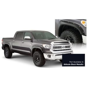 Bushwacker 30918-43 Pocket/Rivet Style Color Matched Midnight Black Metallic 4-Piece Fender Flare Set for 2017-2020 Toyota Tundra