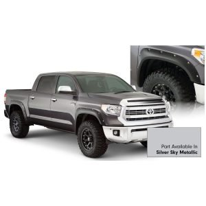 Bushwacker 30918-53 Pocket/Rivet Style Color Matched Silver Sky Metallic 4-Piece Fender Flare Set for 2017-2020 Toyota Tundra