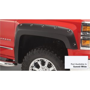 Bushwacker 40959-14 Pocket/Rivet Style Color Matched Summit White 4-Piece Fender Flare Set for 2016-2018 Silverado 1500; Fits 69.3 In. Bed