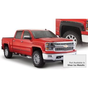 Bushwacker 40959-54 Pocket/Rivet Style Color Matched Quicksilver Metallic 4-Piece Fender Flare Set for 2016-2017 Silverado 1500; Fits 69.3 In. Bed